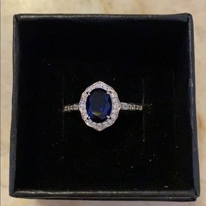 Simulated blue Sapphire ring